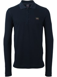 Paul And Shark Longsleeved Polo Shirt Blue