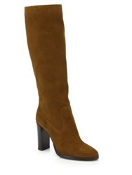 Jimmy Choo Honor 95 Suede Mid Calf Boots Brown