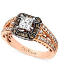 Le Vian Chocolate Diamond 1 1 10 Ct. T.W And White Diamond 7 8 Ct. T.W. Engagement Ring In 14K Rose Gold