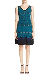 Men's M Missoni Sleeveless V Neck Wave Knit Dress Teal