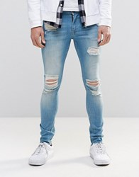 Asos Extreme Super Skinny Jeans With Mega Rips In Mid Blue Mid Blue