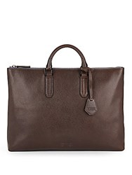 Ben Minkoff Devin Pebbled Leather Briefcase Chocolate