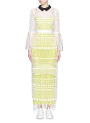 Self Portrait 'Helena' Organza Bell Sleeve Art Deco Lace Dress Yellow Multi Colour