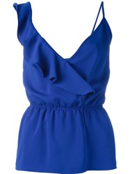 P.A.R.O.S.H. Ruffle Wrap Top With Waistband Detail Blue