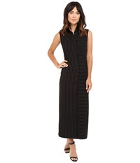 Norma Kamali Sleeveless Long Nk Shirt Black Pinstripe Women's Dress