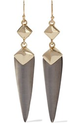 Alexis Bittar Gold Tone Enamel And Glass Earrings Gray