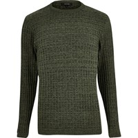 River Island Mens Dark Green Ribbed Jumper