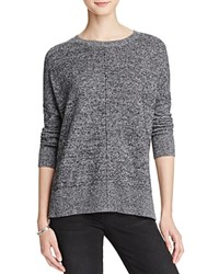 Aqua Cashmere Front Seam Drop Shoulder Cashmere Sweater Black White Twist