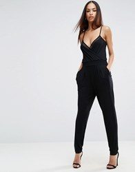 Asos Cami Wrap Jumpsuit With Mesh Insert Detail Black