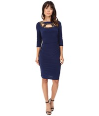 Adrianna Papell Embellished Neckline 3 4 Sleeve Rouched Dress Lyric Navy Women's Dress Black