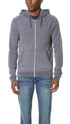 Splendid Mills Faded Thermal Zip Hoodie Charcoal