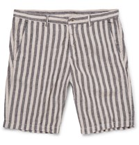 Massimo Alba Vela Striped Linen Shorts Black