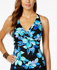 Swim Solutions Floral Print Halter Tankini Top Women's Swimsuit Blue