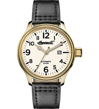 Ingersoll Aspley Automatic I02702 Gold Plated Stainless Steel And Leather Watch