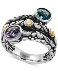Effy Blue Topaz 1 1 3 Ct. T.W. And Amethyst 5 8 Ct. T.W. Wrap Ring In Sterling Silver And 18K Gold Silver Gol