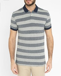 Minimum Black And Grey Coventry Striped Polo Shirt With Navy Collar