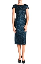 Women's Dress The Population 'Marcella' Open Back Sequin Body Con Dress Navy