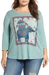 Lucky Brand Plus Size Women's Elephant Ride Graphic Tee