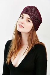 Urban Outfitters Shimmer Ribbed Beanie Turban Berry