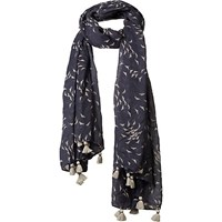 Fat Face Seagull Print Tassel Scarf Grey Navy