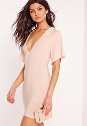 Missguided V Plunge Floaty Sleeve Bodycon Dress Pink Beige