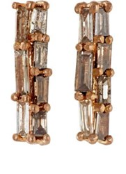 Nak Armstrong Women's Baguette Champagne Diamond Studs Pink