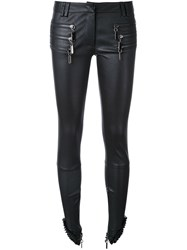 Thomas Wylde Zip Detail Leather Trousers Black