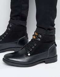 Original Penguin Peguin Lace Up Boots In Black Leather Black