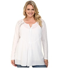 Dkny Plus Size Lace And Mesh Woven Top White Women's Blouse