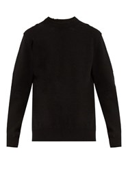 Balenciaga Wool Blend Distressed Knit Sweater Black