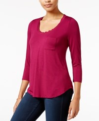 Maison Jules Three Quarter Sleeve Scoop Neck T Shirt Only At Macy's Cherry Plum