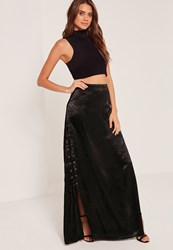 Missguided Eyelet Lace Up Satin Maxi Skirt Black
