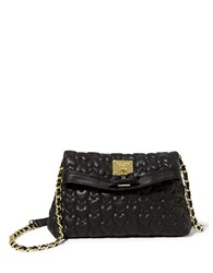 Betsey Johnson Always Be Mine Heart Quilted Shoulder Bag Black