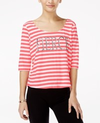 Material Girl Active Juniors' Feel The Burn Strap Back Graphic T Shirt Only At Macy's Pink White Stripe