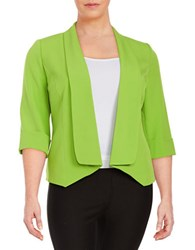 Nipon Boutique Plus Open Front Crepe Blazer Key Lime