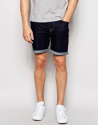 Only And Sons Denim Shorts In Slim Fit With Turn Up Indigo Blue
