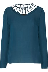 Cushnie Et Ochs Cutout Silk Georgette Top Blue