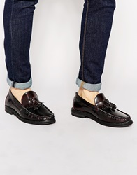 New Look Tassel Loafers In Faux Leather Burgundy