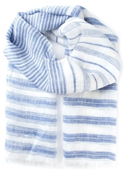 Canali Striped Scarf Blue