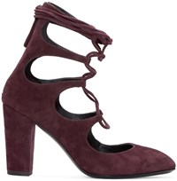 Giuseppe Zanotti Burgundy Suede Lace Up Heels