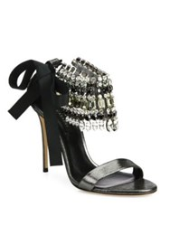 Casadei Jeweled Metallic Leather And Grosgrain Bow Sandals Black