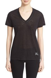Women's Burberry Brit Linen Knit V Neck Tee Black