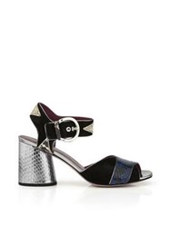 Marc By Marc Jacobs Cheryl Open Toe Embossed Python Sandals Navy