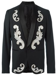 Christian Pellizzari Embroidered Applique Smoking Jacket Black