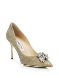 Jimmy Choo Glitter And Crystal Point Toe Pumps Gold