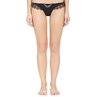 Kiki De Montparnasse Women's Satin And Lace Thong Navy