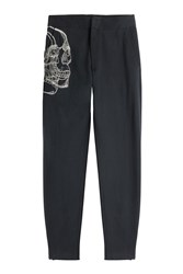 Alexander Mcqueen Cotton Skull Embroidered Sweatpants Blue