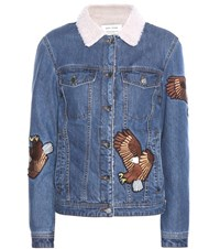 Each X Other Faux Shearling Lined Denim Jacket With Applique Blue