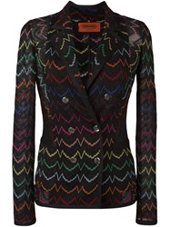 Missoni Double Breasted Embroidered Blazer Black
