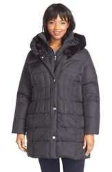 Plus Size Women's Larry Levine Faux Fur Trim Down And Feather Fill Parka Black